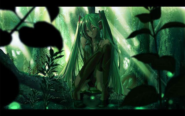 森に座り込んだ初音ミクの綺麗なボカロ壁紙画像