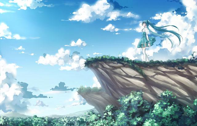 森の上の崖に佇む初音ミクと美しい青空のイラスト壁紙画像