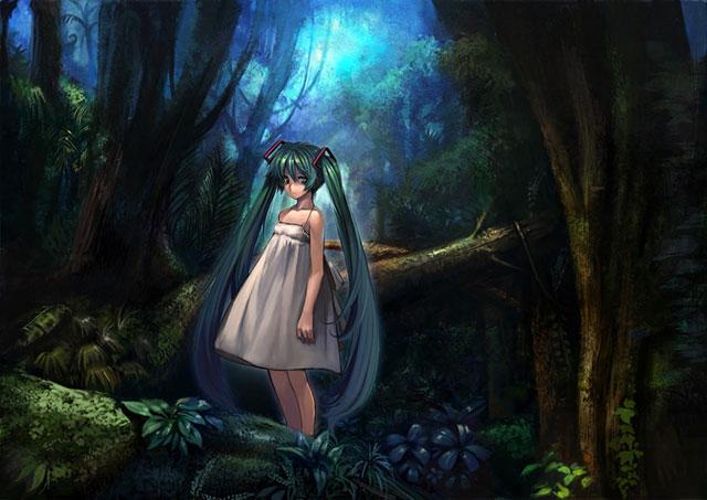 森の中に佇むワンピース姿の可愛い初音ミクのボカロ壁紙画像