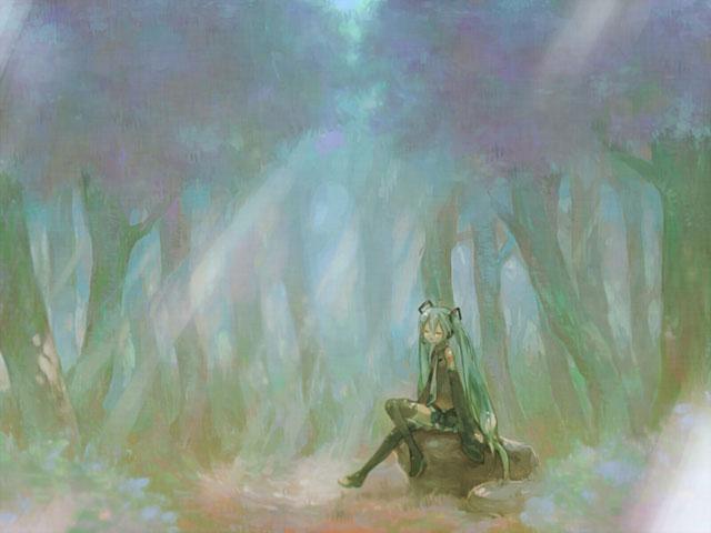 森の中で石に座って森林浴する初音ミクの綺麗なイラスト壁紙画像