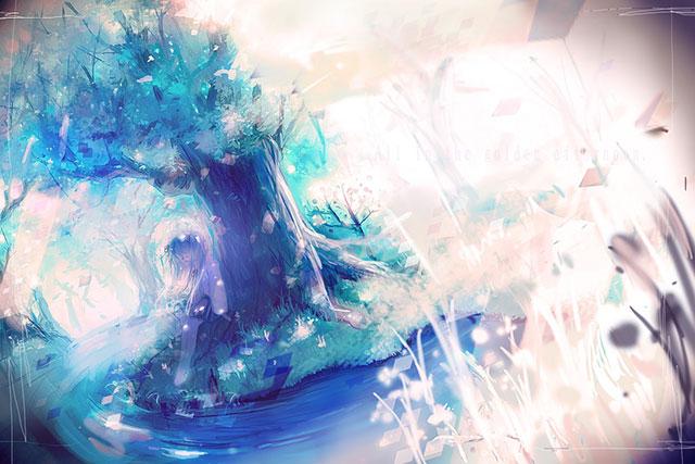 森の中の川と初音ミクを繊細なタッチで描いた美しいイラスト壁紙画像