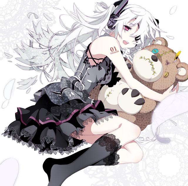 クマのぬいぐるみを抱いた白い紙の初音ミクのボカロ壁紙画像