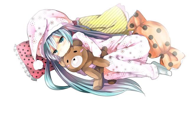 パジャマを着てぬいぐるみと一緒に寝る初音ミクの可愛いイラスト壁紙画像