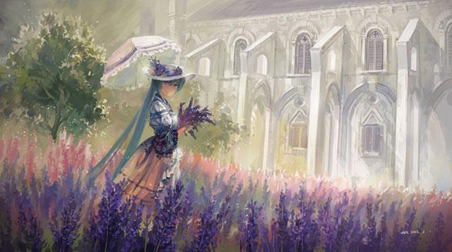 ラベンダー畑で日傘を刺した初音ミクの美しい絵画風イラスト