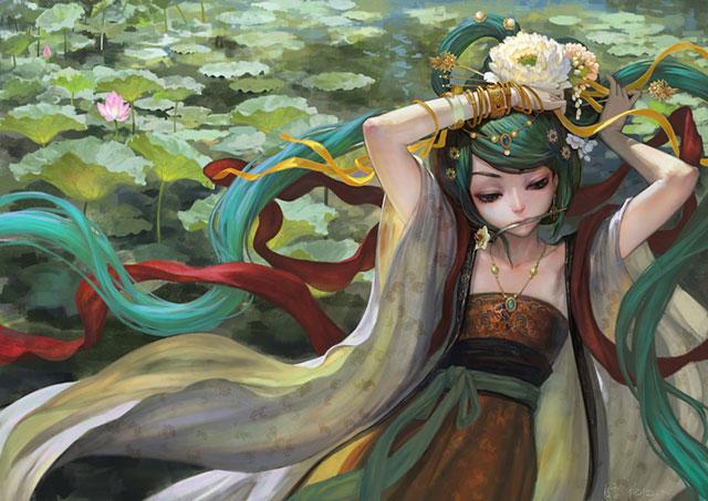 リアルな陰影が美しい天女風の初音ミクのイラスト壁紙画像
