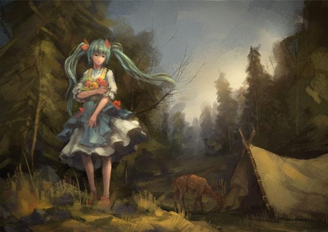 森で果物を抱えた初音ミクと鹿を描いた絵画タッチのボカロ壁紙画像