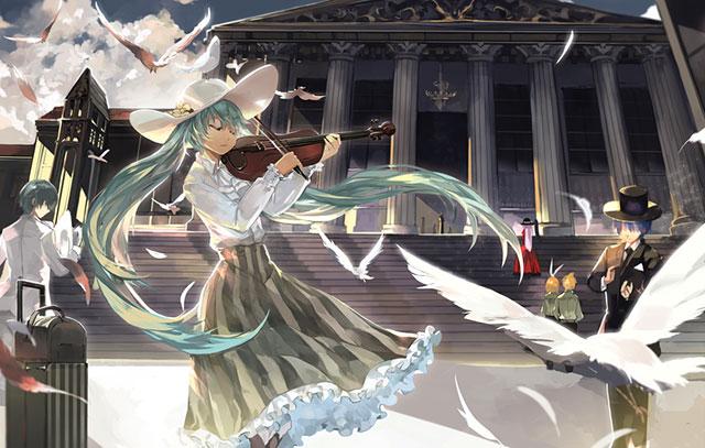 ヴァイオリンを弾く初音ミクの絵画風なイラスト壁紙画像