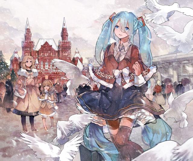 モスクワの街を歩く初音ミクを水彩画風に描いたイラスト壁紙画像