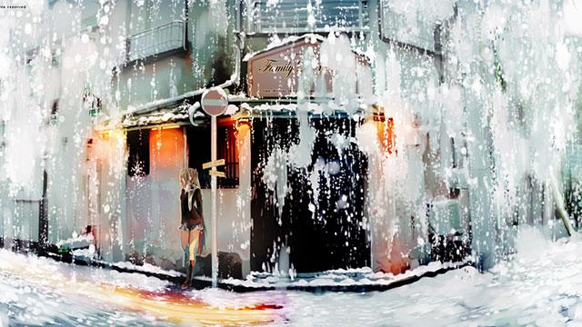 雪降る街で誰かを待つ制服姿の初音ミクのイラスト壁紙画像