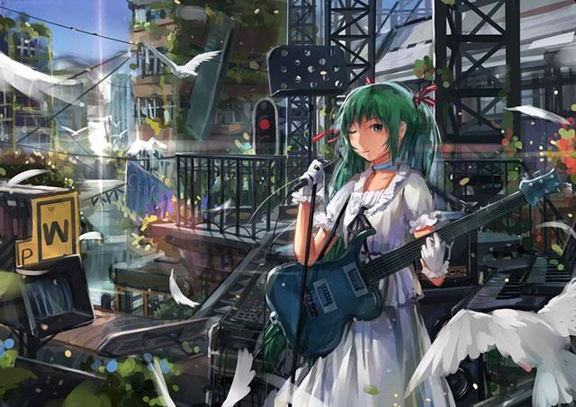 駅のステージでギターを持って歌う初音ミクのイラスト壁紙