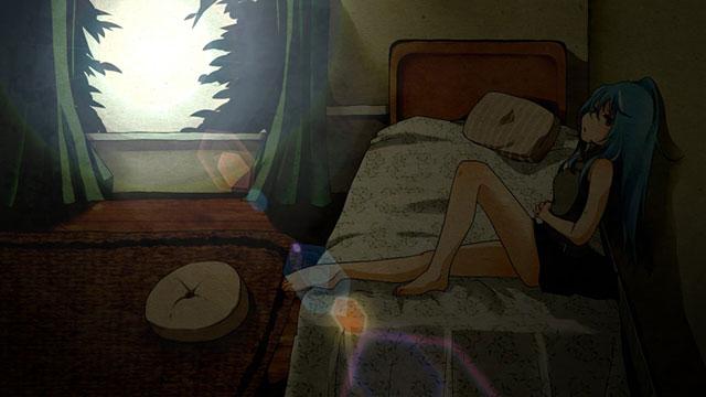 外の光が刺しこむ部屋のベッドでまったりする初音ミクのイラスト壁紙