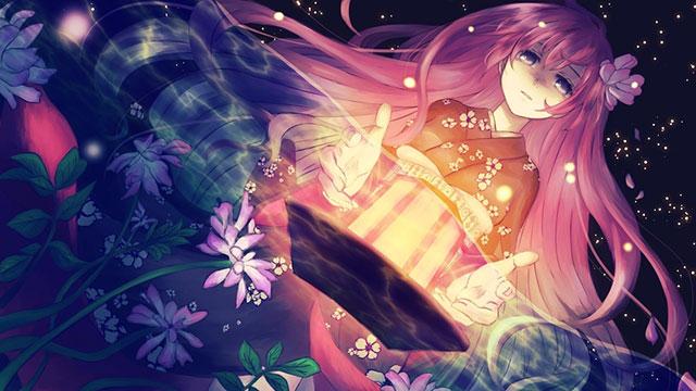 水の中の花と和服を着た巡音ルカの綺麗なイラスト壁紙画像