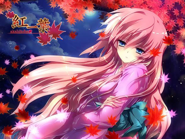 紅葉の中の和服姿の巡音ルカを描いた美しいイラスト壁紙画像