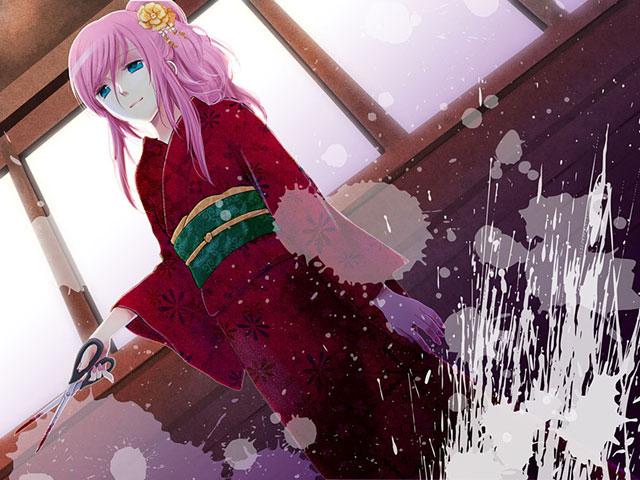 髪を束ねて和服を着た巡音ルカの綺麗なイラスト壁紙画像