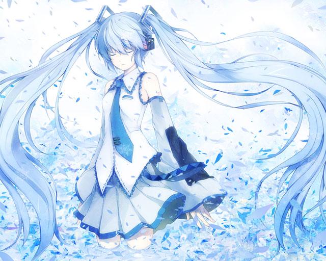 細かい破片が舞う中の青い初音ミクを描いた綺麗なイラスト壁紙画像