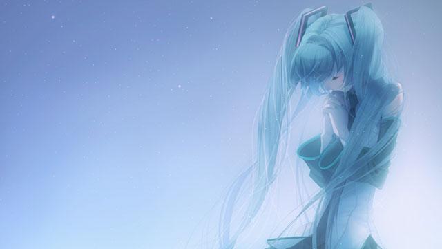 祈るようなポーズの初音ミクを青の淡いグラデーションで描いた美しイラスト壁紙