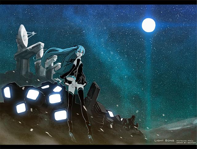 星空に輝く大きな月と初音ミクの後ろ姿の綺麗なイラスト壁紙画像