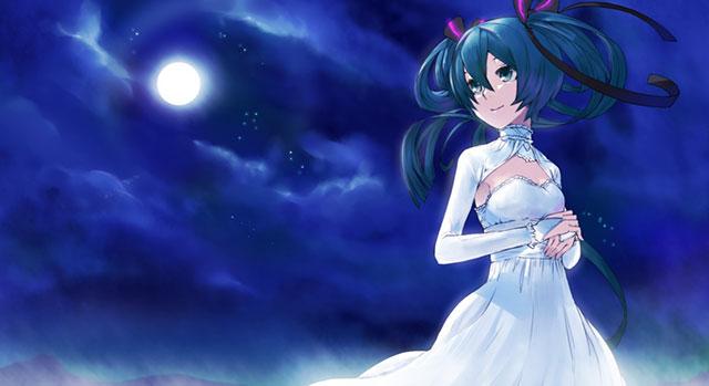 雲間から見える月とお姫様ドレス姿の初音ミクを描いた綺麗なイラスト壁紙画像