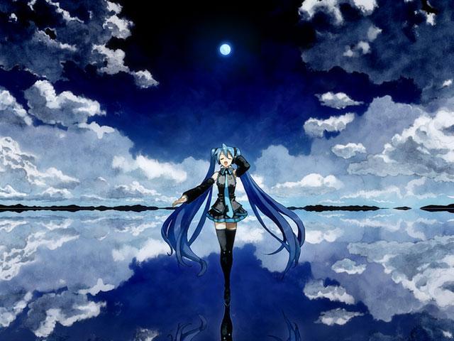 水面の上に立って気持ち良さそうに歌うミクと月のイラスト壁紙