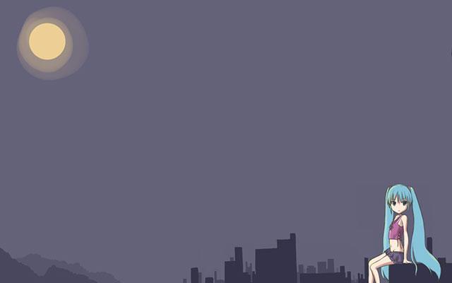 夜空の月とビルとデフォルメした初音ミクの可愛いイラスト壁紙画像