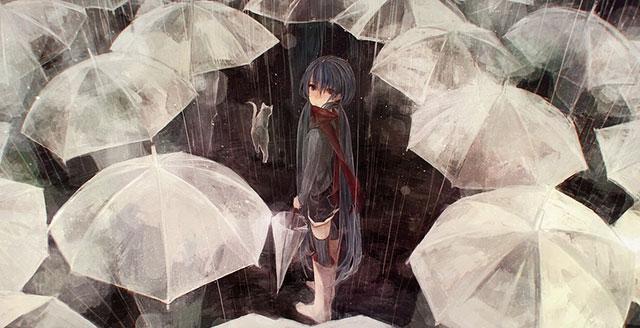 たくさんの傘とずぶ濡れの初音ミクの切ないイラスト壁紙画像