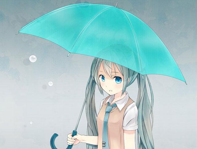青い傘をさしてこっちを見つめる初音ミクの可愛いボカロ壁紙画像