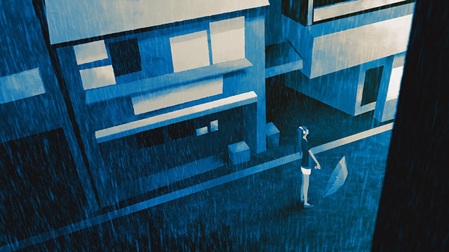 雨の中の初音ミクを描いた綺麗なブルーのイラスト壁紙画像