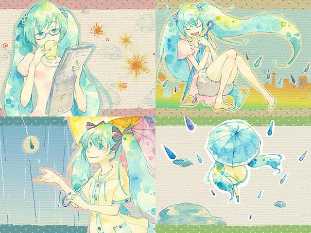 雨の日の初音ミクを四コマ風に描いた可愛いイラスト壁紙画像