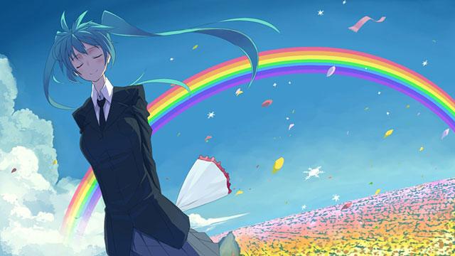 大きな虹とお花畑をバックにした制服姿の初音ミクのイラスト壁紙