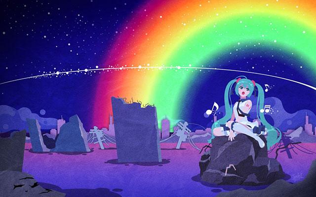 夜空にかかった大きな虹をバックに気持ち良さそうに歌う初音ミクのイラスト
