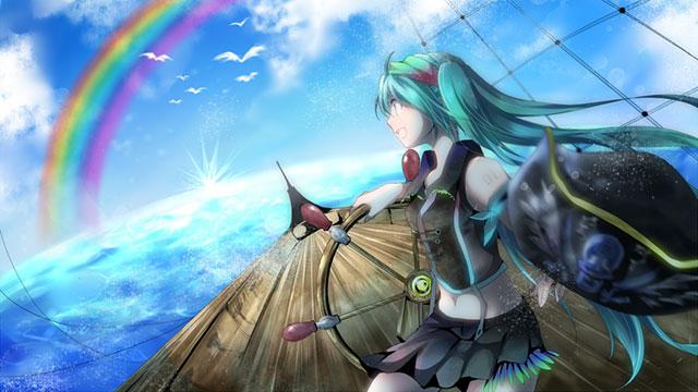 海の向こうに見える虹に向かって面舵いっぱいな初音ミクのイラスト壁紙