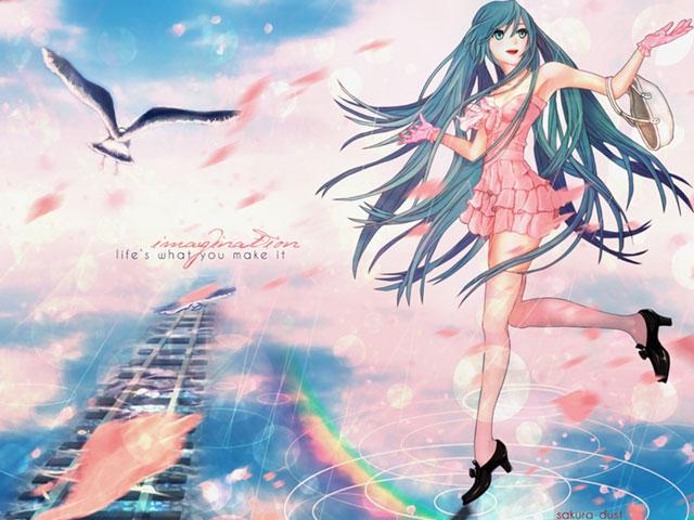 虹と鳥とドレス姿の初音ミクを描いた綺麗なイラスト壁紙画像