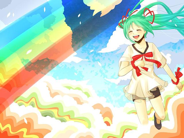 虹の中を楽しそうな笑顔で走る初音ミクの綺麗なイラスト壁紙画像