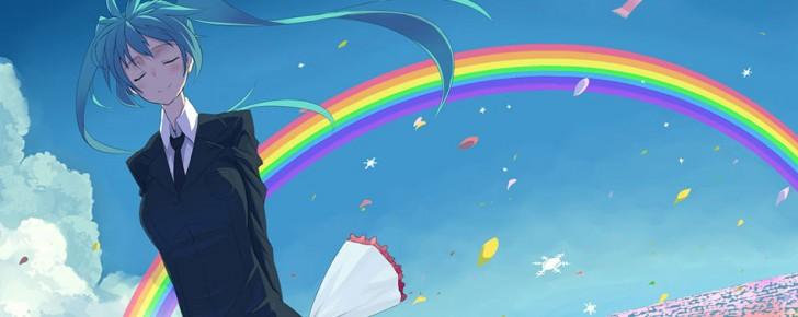 【初音ミク】虹とミクの綺麗なイラスト画像【ボカロ壁紙】