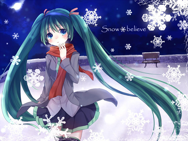 初音ミクのボカロ曲「snow believe」のイラスト壁紙画像