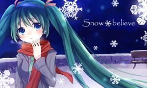 【初音ミク】ミクと雪の結晶の綺麗なイラスト画像【ボカロ壁紙】