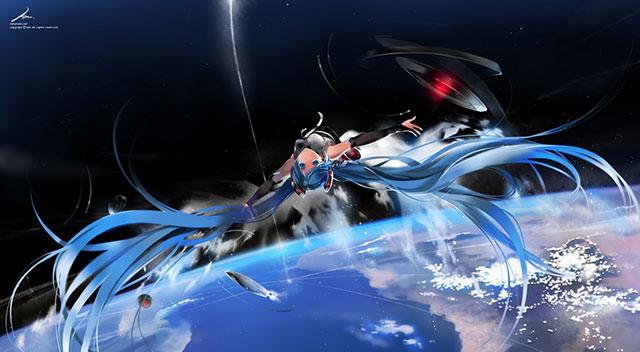 地球をバックに宇宙空間を漂う初音ミクアペンドのボカロ壁紙画像