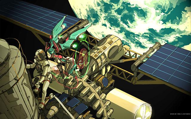 宇宙ステーションで船外活動する宇宙飛行士と初音ミクの美しいイラスト壁紙