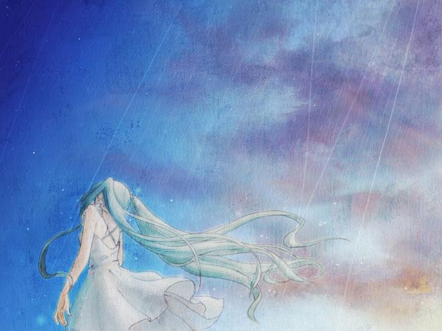 雨の中の白ワンピースを着た初音ミクの後ろ姿のボカロ壁紙画像