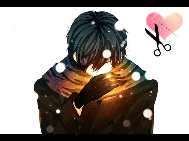 雪の中のうつむいたKAITOを描いたかっこいいイラスト壁紙画像