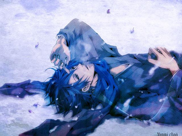 雪の上に仰向けに寝そべったKAITOを描いたかっこいいイラスト壁紙画像