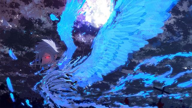 青く光る大きな翼を持ったKAITOを描いたかっこいいイラスト壁紙画像