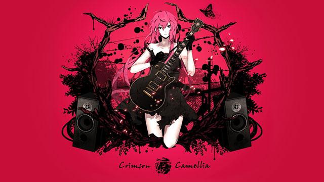 ピンクの背景がオシャレなギターを弾く巡音ルカのイラスト壁紙画像