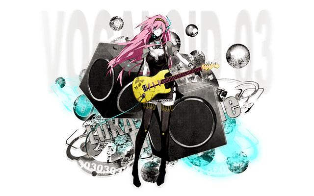 スピーカーとギターを弾く巡音ルカをデザインしたかっこいいイラスト壁紙画像