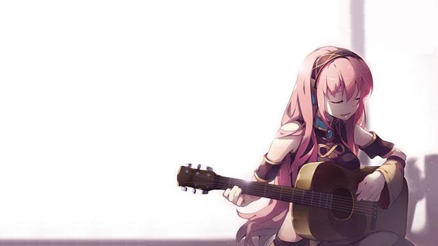 楽しそうに目をつぶってギターを演奏する巡音ルカの可愛いイラスト壁紙画像