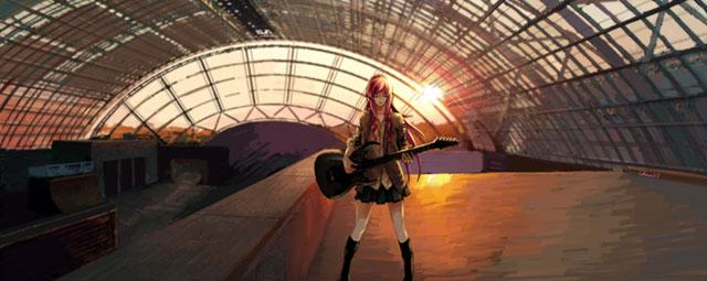 夕日をバックに制服姿でギターを弾く巡音ルカの高画質なイラスト壁紙画像