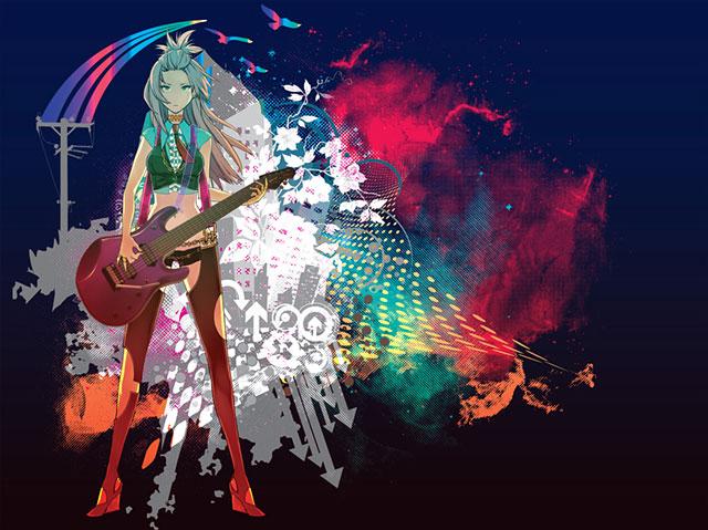 ギターを弾くルカをカラフルな配色でデザインしたおしゃれなイラスト壁紙画像