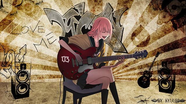 椅子に座ってギターを弾く制服姿の巡音ルカのかっこいいイラスト壁紙画像
