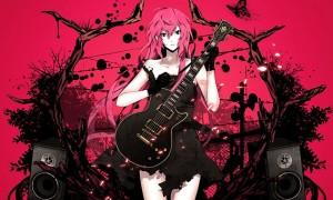 【巡音ルカ】ギターを弾くルカのかっこいいイラスト壁紙【ボカロ】