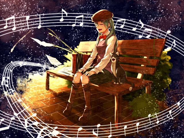 ベンチに座って猫と一緒に楽しそう歌う初音ミクの可愛いイラスト壁紙画像